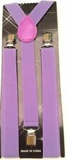 NEW Punk Purple Lavender Brace Clip on Elastic Adjustable SUSPENDERS