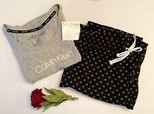 Calvin Klein 2 Piece Pajama Sleepwear Set Small Gray/Black/White, Comfy!!! NWT