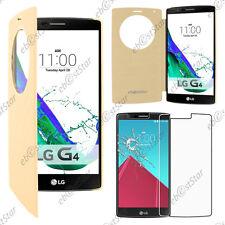 Housse Etui Coque Flip View Cover Portefeuille Doré LG G4 H815 Dual LTE + Verre