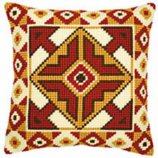 """Red & Beige Chunky Cross Stitch Cushion front kit 16x16"""" tapestry canvas"""