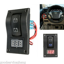 Marine Digital Battery Rocker Switch ON-OFF-ON Car Voltmeter LED Test Panel Boat