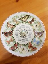 Wedgwood Porcelana Fina placa de calendario 1998 Mariposas Aprox 10ins de ancho