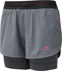 Ronhill Infinity Marathon Twin Womens Running Shorts Grey 2 In 1 Run Short