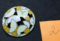 Vintage 70s Cloisonne Enamel Round Butterfly Gold Plated Brooch Broche Fish?