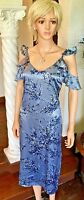 WAYF New S Women's Blue Floral Dress Cold Shoulder Ruffle Summer Dress $99 NWT