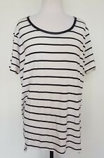 SEED Heritage White/Black Stripe Stretch Knit Top Size M