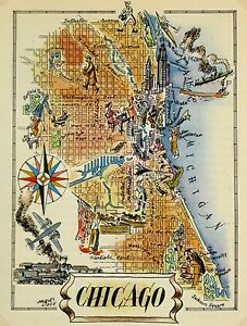 Chicago Antique Vintage Pictorial Map  (Postcard size)