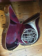 More details for french horn (vintage) with mouthpiece and case. works and sounds lovely.