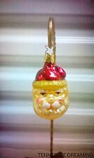 Old World Christmas Maroon Hatted Santa Head Ornament Enga-Glas Collection