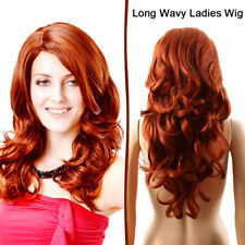 Red Ginger Mix Long Wavy Ladies Wig Synthetic Natural LOOK Skin Top Wigs UK