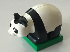 *NEW* 1 Piece Lego Duplo ANIMAL Black White BABY PANDA CUB with 2x2 Green Base