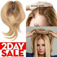 Russian 100% Remy Human Hair Topper Hairpiece Cover Wiglet Silk MONO Base B125