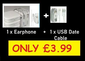 New Earphones Headphone + USB Cable For Pods Apple iPhone 6s 6 5c 5 5S (2 ITEMS)