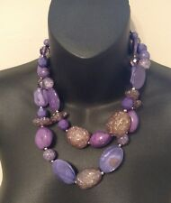 PURPLE LUST NECKLACE MIRACLE STONE PURPLE SHINE BEADED DOUBLE STRAND STATEMENT