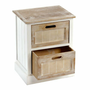Small Compact 2 Drawer Shabby Chic Side Table Cabinet Lightweight Free Delivery
