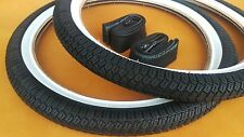 1 PAIR 20X2.25 *WHITE WALL BMX BICYCLE TIRES & TUBES * FREE RIM LINERS