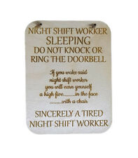 NIGHT SHIFT WORKER PLAQUE DO NOT DISTURB SIGN NIGHTS LASER ENGRAVED