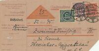 Nachnahmekarte Jahr 1922 verschickt vom Amtsgericht Düsseldorf wertvolle Marken