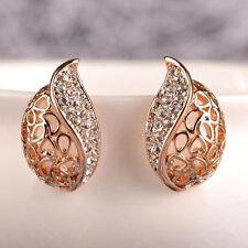 1Pair Fashion Gold Plated Rhinestone Ear Studs Women Earrings Eardrop Jewelry