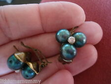 Clip Back Earrings (Ph3) 60 Beautiful, Vintage Faul Pearl Green Holly