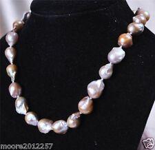 "Rare 12-18mm Natural Lavender Baroque Pearl Necklace 18"""
