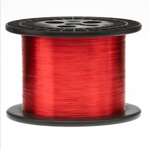 """27 AWG Gauge Enameled Copper Magnet Wire 5.0 lbs 8005' Length 0.0151"""" 155C Red"""
