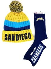 San Diego Chargers Football Deuce Crew Socks with San Diego Stocking Hat Cap
