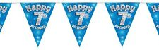 Blue Holographic Happy 7th Birthday Flag Bunting Decoration 12.8ft Long - New