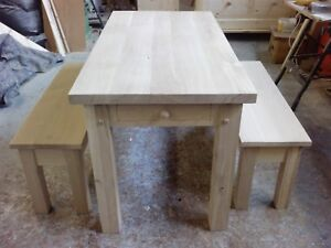 OAK DINING TABLE inc. TWO OAK BENCHES