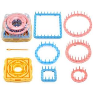 9X DIY Knit Knitting Loom Crochet Flower Maker Wool Yarn Needle Home Craft Kit