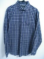 Banana Republic Slim Fit Mens Size Large Blue Plaid Long Sleeve Button Up Shirt