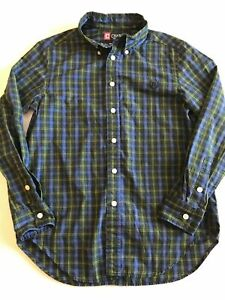 Boys Kids Youth 10-12 Chaps Button Down Plaid Long Sleeve Easy Care B27