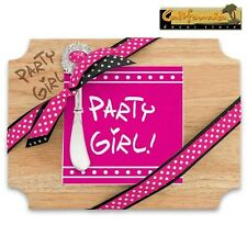 PARTY GIRL! WOOD CUTTING/CHEESE BOARD AND NAPKIN GIFT SET inlaid enamel spreader