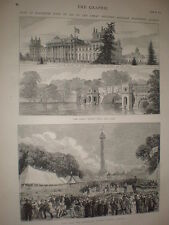 Fete in Blenheim Park in aid of GWR Privident Society 1873 old prints