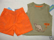 Gymboree CONSTRUCTION AHEAD SAFARI OUTBACK Boys Orange Shorts Kangaroo Tank 3-6