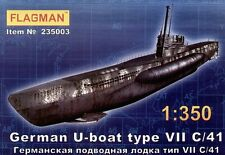 U-boot Type Vii C/41 WW II Submarino (Alemán & soviético NAVY MKGS) 1/350 abanderado