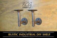 "Pair 4x4"" L Brackets DIY Pipes B (8""-10"" deep shelf) urban steampunk rustic"