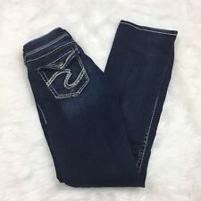 Silver 27 Womens Dark Wash Natsuki Flap Embellished Denim Jeans