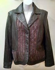 TRIBAL LEATHER Jacket Women's Black Brown Size Medium 8 Coat Blazer Button Up