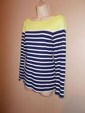 Old Navy Womens Size M Striped Stretch Knit Top 3/4 Sleeves Boat Neckline