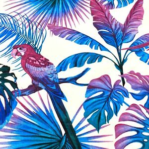 1073.Large blue-violet leaves with Parrot 100% Cotton Fabric.Price per 1/2 metre