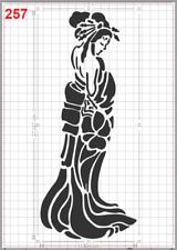 Japanese Woman Geisha Kimono Stencil MYLAR A4 sheet strong reusable Craft Deco