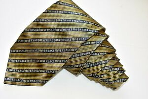 """AUTHENTIC VERSACE STRIPED/YELLOW Men's Neck Tie W:3 1/4"""" by L:61"""""""