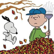 CROSS STITCH+ CRAFT PATTERN Peanuts Charlie Brown Snoopy Fall Leaves Rake Tree