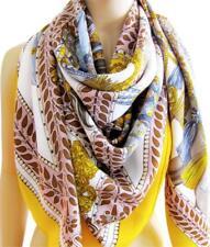 NEW Hermes 140cm GM Marwari La Danse Du Cheval Cashmere Silk Shawl Yellow