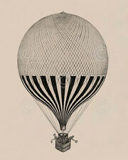 La ville de Calais, 1875 Vintage Reproduction Hot Air Balloon Print Poster 11x14