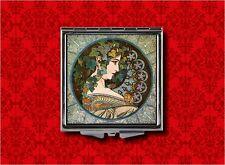MUCHA ART NOUVEAU LADY IVY LEAF CROWN VINTAGE MAKEUP POCKET COMPACT MIRROR