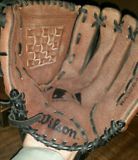 "Wilson Genuine Leather 11 1/2"" Rh Baseball Glove A2452 Black/Brown Woven Pocket"