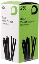"250 x Black 8"" Long Jumbo Flexi Bendy Drinking Straws 210mm x 6mm"