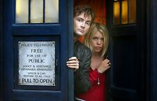 """Dr Doctor Who Imported 17"""" X 11"""" Poster print - 10th Doctor and Rose with TARDIS"""